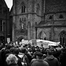 black and white photos of no to bedroom tax demonstration at Durham UK march 2013