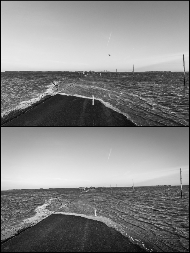 two black and white photos of the tide coming in at Holy Island