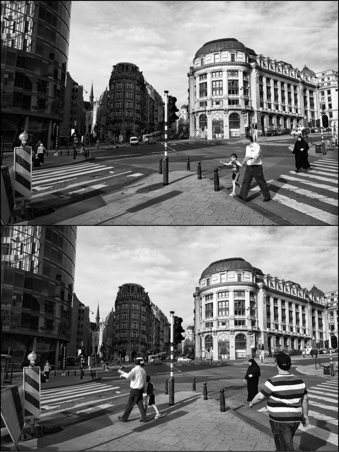 black and white photographic diptych of a street corner in Brussels
